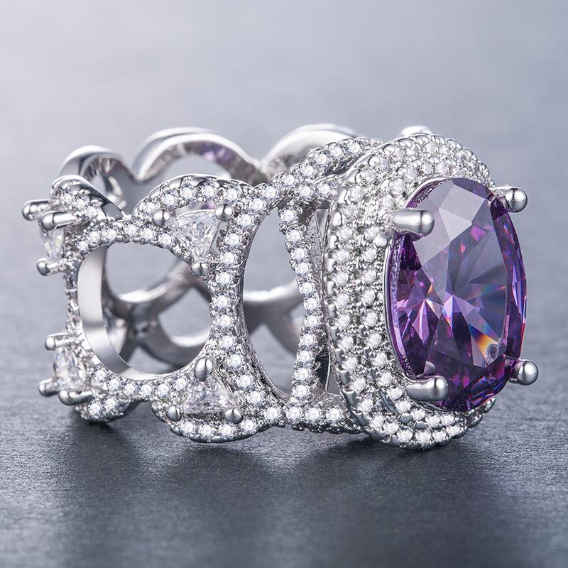 Full Diamond Blue Purple Big Diamond 925 Sterling Silver rings for ladies luxury designer Fashion Aurora Genuine prom Cute Jewelry
