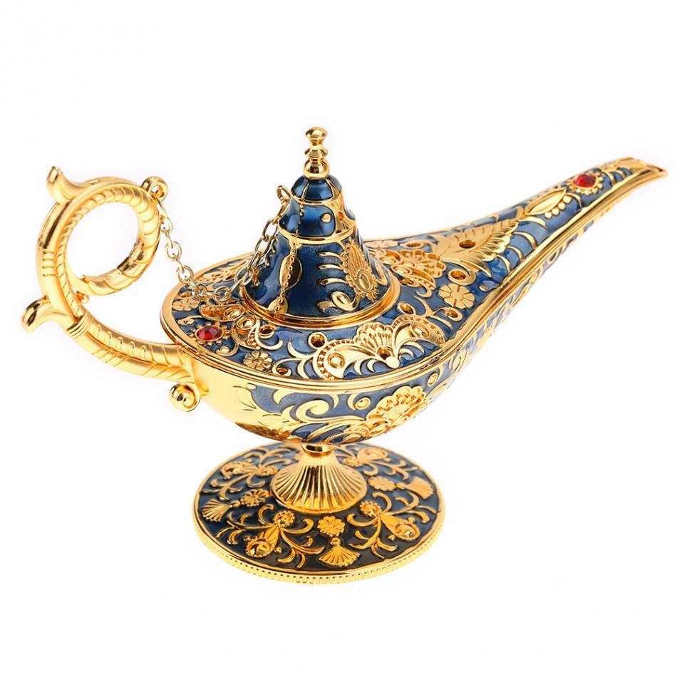 2019 Aladdin Magic Lamp Traditional Hollow Out Fairy Tale Aladdin Genie Lamp Vintage Retro Toy Home Decor Ornaments Vintage Tea Pot J190712 From