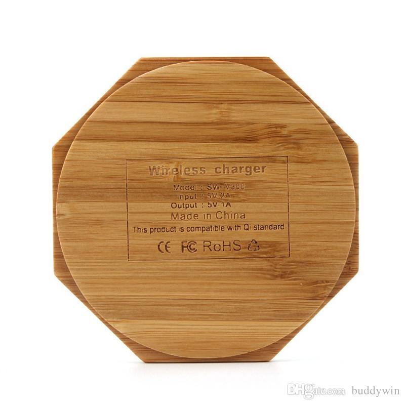 Round Bamboo Wooden Qi Wireless Charing Charger Pad Power Fast Charger For Samsung iphone All Qi-enabled Devices Free DHL