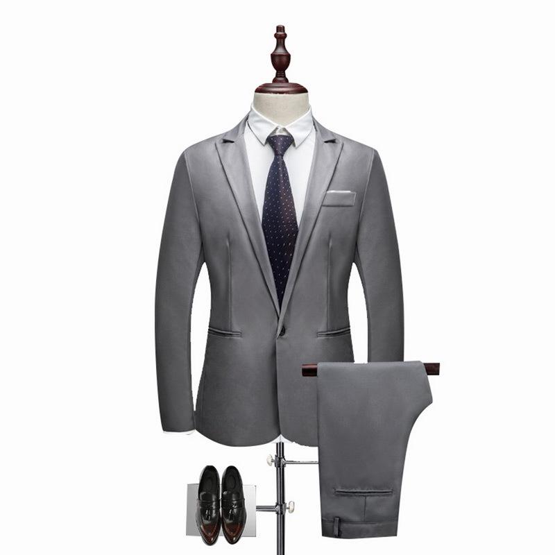 Brand Men Suit Fashion Solid Suit 2018 Casual Slim Fit Mens Bussiness Wedding Suits Male Jacket Coat Pant Plus Size 3XL C18122501