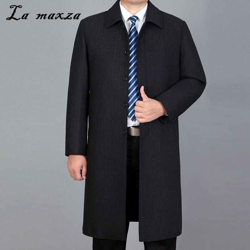 Volltonfarbe Mantel Wolle Reverskragen Trenchcoat Mantel Freizeitjacke Lange