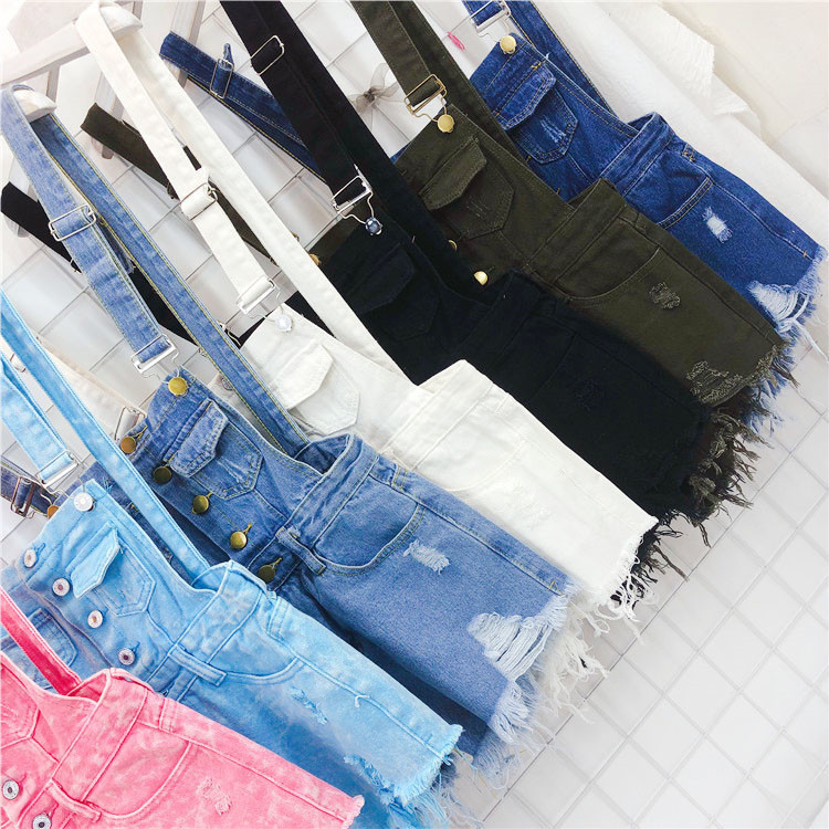 The new loose-fitting Korean version of the springsummer 2017 denim suspenders for female students shows a trend of slim, worsted fringed tassel shorts (15)