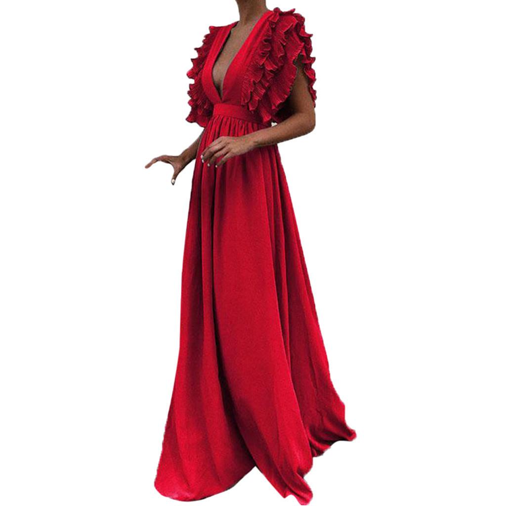 Women Dress Women Plus Size Solid Vintage Fly Sleeve Back Hollow V-neck Long Party Dress Vestido De Festa T3190605