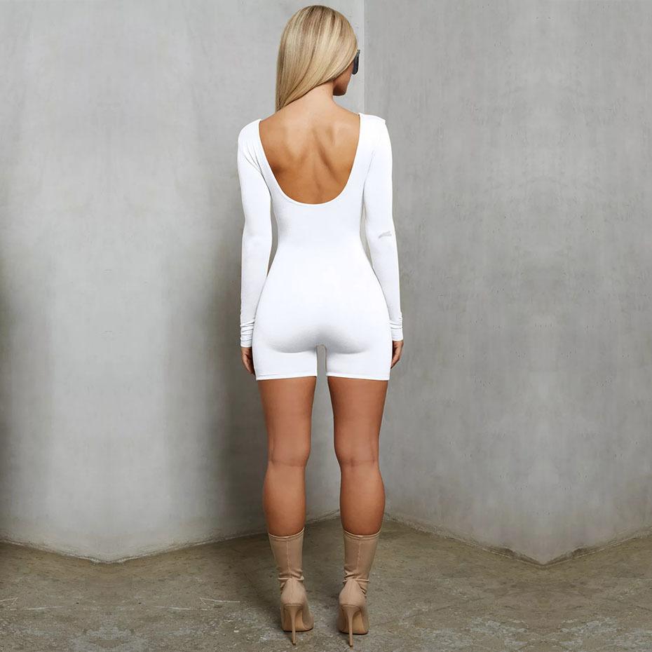 Haoyuan Bodycon sexy Body manga larga Playsuit Streetwear negro blanco damas de una pieza corto mamelucos mono mujer trajes C19041901