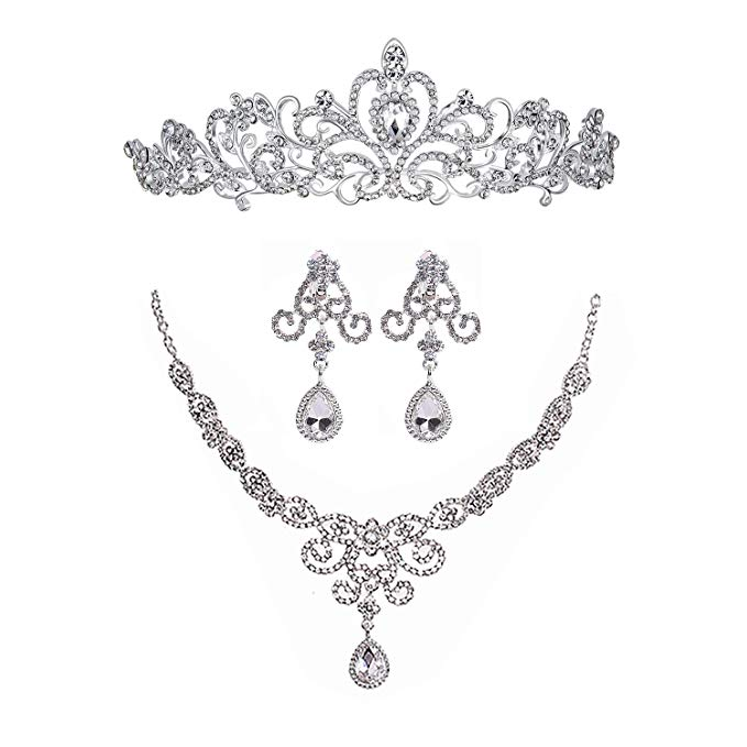 Silver Rhinestone Crystal Necklace Earrings & Crown Set Wedding Jewelry Sets Bridal Necklace Tiara (2)