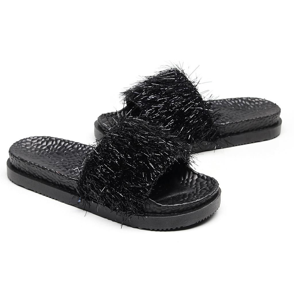 1 Yaz Çevirme Kadın Terlik Püskül Plaj Sandalet Kadın Nefes Düz Terlik Rahat Ayakkabılar Pembe
