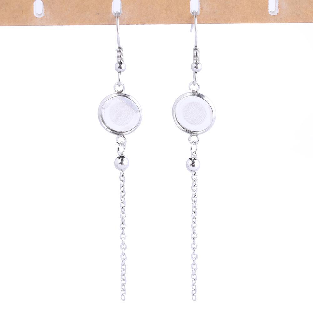 Pendiente Plateado Plata espacios en blancoPalanca hacia con ajuste de 12mm10 un. 5 pares