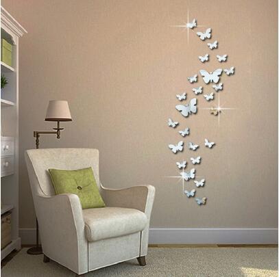 Spiegel Wandaufkleber 3D Uhr Schmetterling Muster CA005 Wohnzimmer DekorationWR