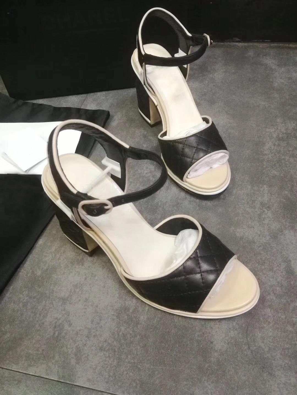 2019 Summer Womens Sexy Genuine Leather Sexy High Heel Sandal Open Toe Black Block Heel Slip On Slide Slipper Shoes 5CM Heel
