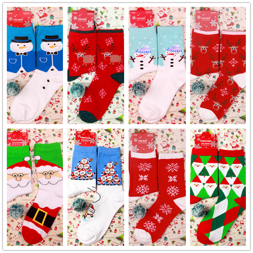 Women High Ankle Cotton Crew Socks Merry Christmas Casual Sport Stocking
