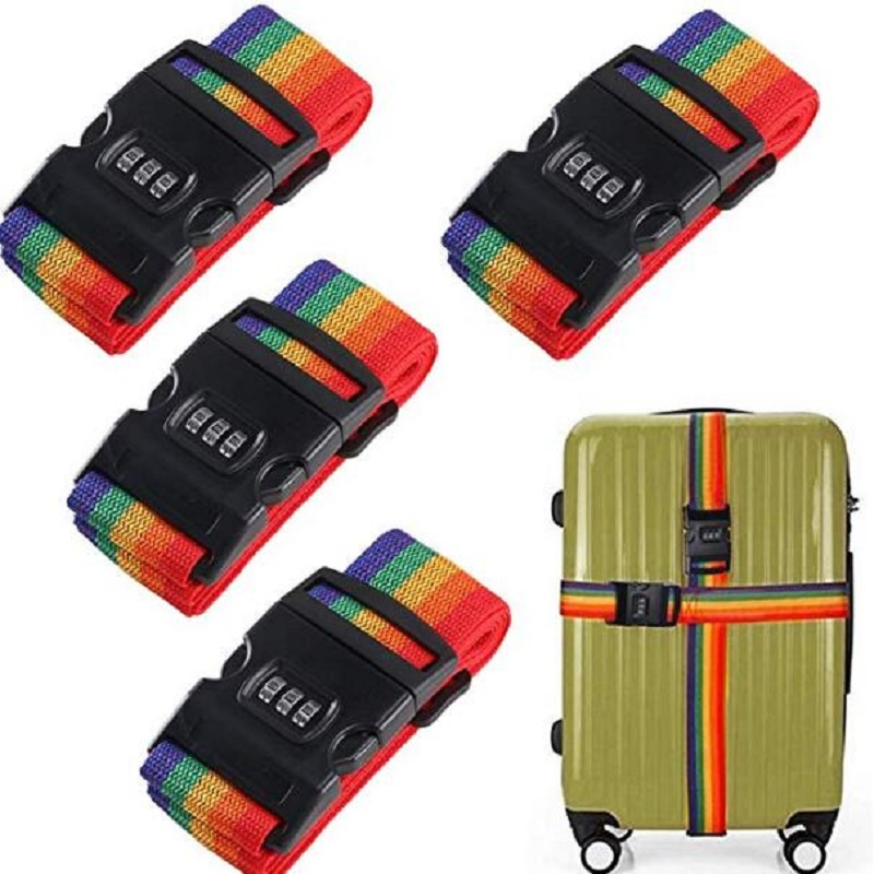 Cool Crazy Antique Motorcycle Pattern Luggage Straps Adjustable Suitcase Belts with 3 Dial Digit Combination Travel Bag Accessories