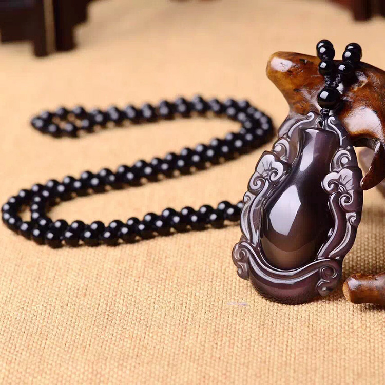 Fine Jewelry Natural Rainbow Obsidian Obsidian Pendant Ruyi Vase Vase Peace Necklace Jewelry for Men and Women