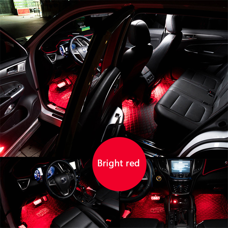 4 In 1 Car Interior Multicolors Phone Control Led Lamp 12V RGB Leds App Foot Light 9 SMD Ambient Light Voice Control Music Lamp