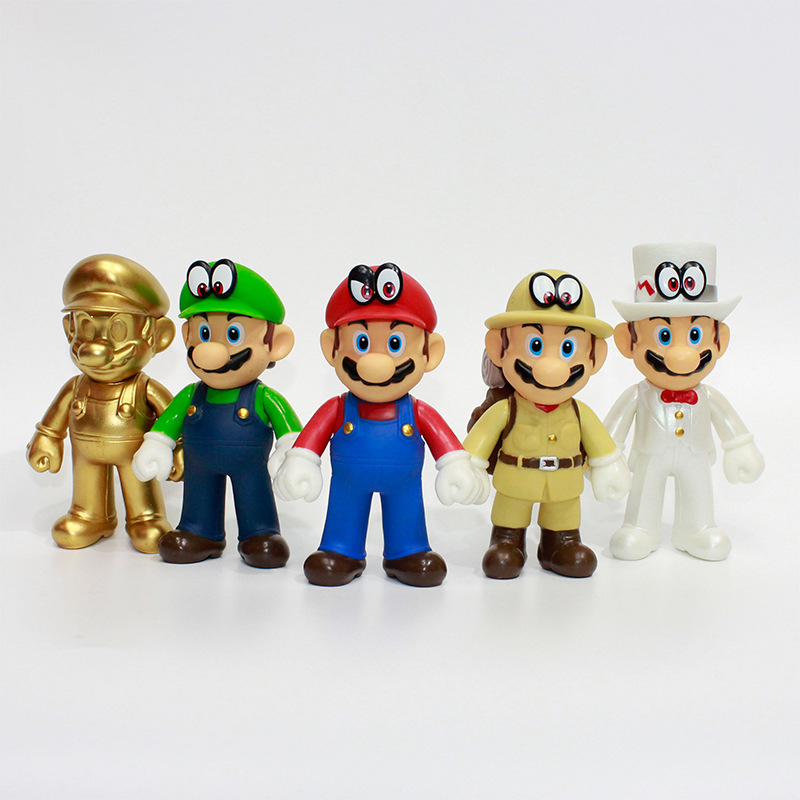Super Mario Bros Golden Luigi Mario Action Figure Collection Toy Kid Gift Decor