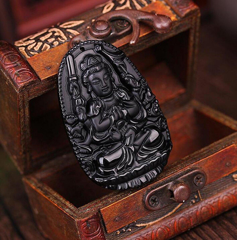 Joyería fina pura Natural mano obsidiana Auspicioso Guanyin colgante collar envío gratis