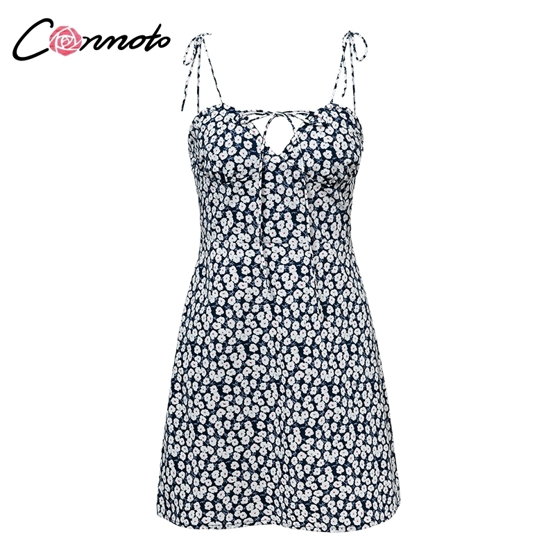 Conmoto Robe Femme Cotton Fashion Summer Women Chic Beach Party Lace Up Sexy Mini Dress Vestidos Q190425