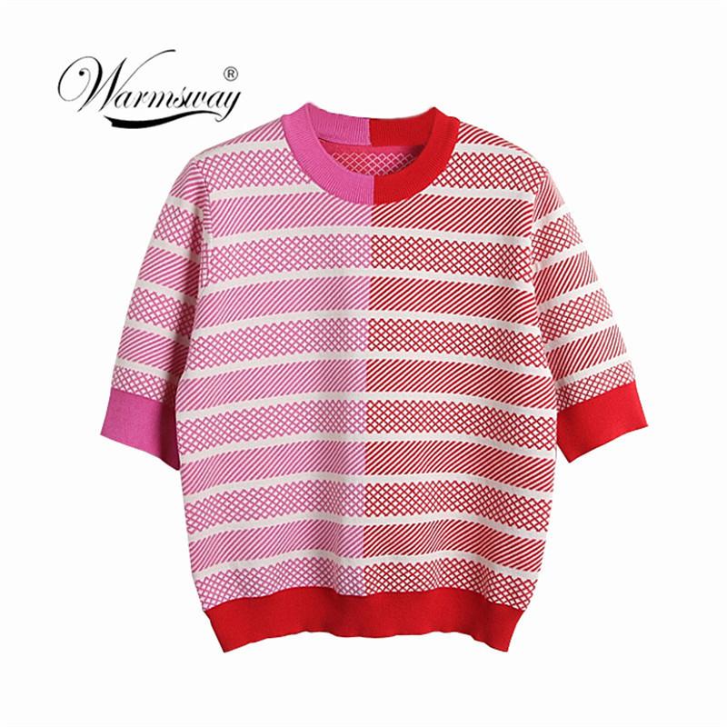 2019 Summer Korea Fashion Women O-neck Half Sleeve Patchwork Slim Short Pullover Female T-shirt C-087