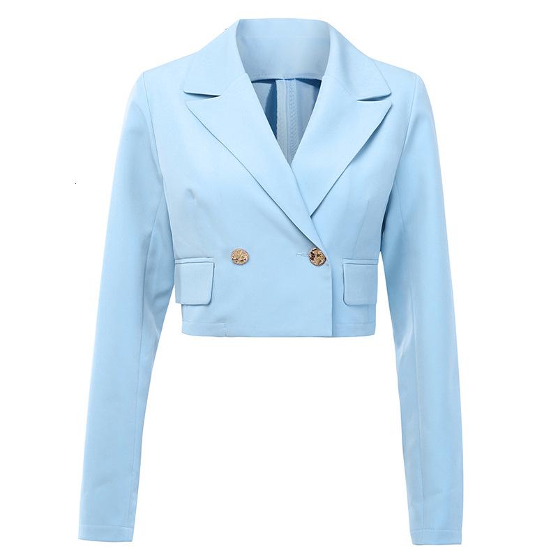 Mujer suelta la capa del otoño 201992282 botón de inclinación de la hebilla collar traje puro del ombligo color Exposed