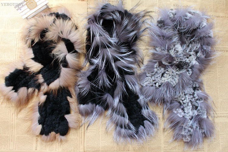 natural rex rabbit fur scarf silver fox fur (14)