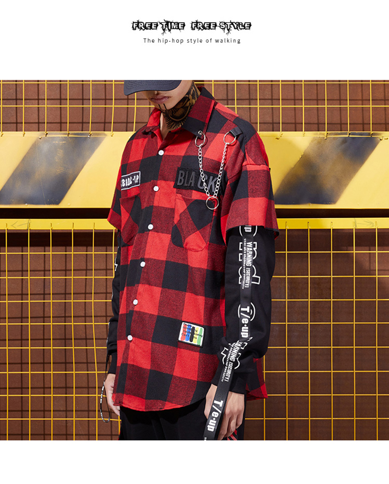 Red And Black Plaid Patchwork Shirt Men (3)
