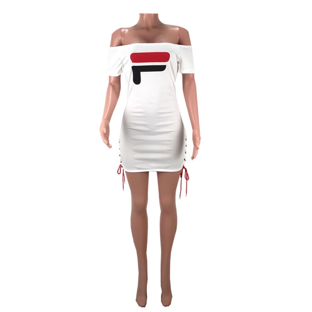 HY5001 Karakter Kadın Mektup Baskılı Bandaj Bezi DressWild bayan elbise moda