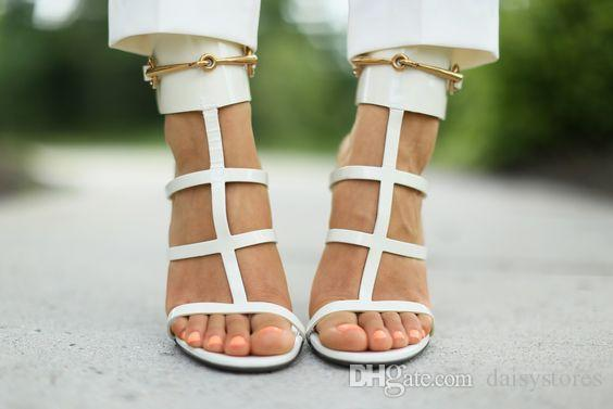 Gold Metal Ankle Wrap Lady Dress High Heels Sandals Summer Open Toe Leather Designer Woman Pumps Shoes Strappy Stiletto Shoes