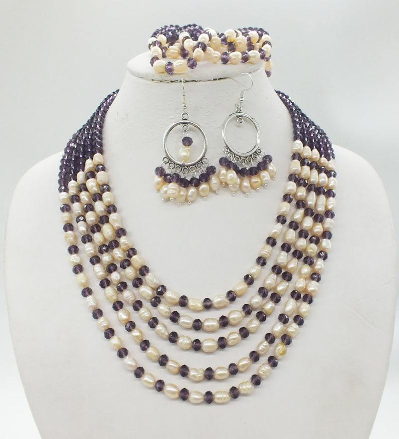 5 rows, natural pearls, crystals, necklaces. Earrings, Bracelet, African Bridal Wedding Necklace Jewelry