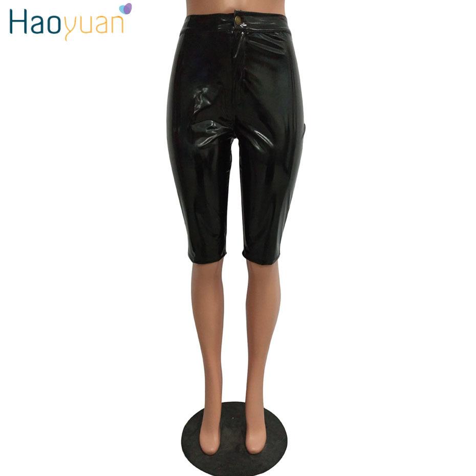 Haoyuan Pu Deri Seksi Şort Kadın Moda Yüksek Bel Faux Deri Biker Şort Streetwear Şınav Diz boyu Kısa Pantolon J190430