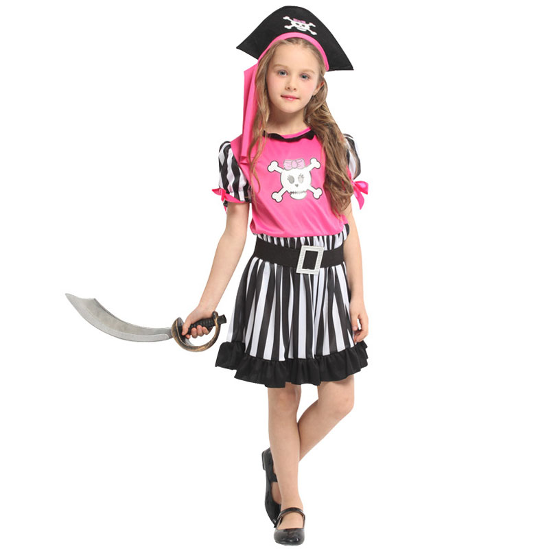 Carribean Pirate Child Costume Girls Pink Black Sea Boat Theme Party Halloween