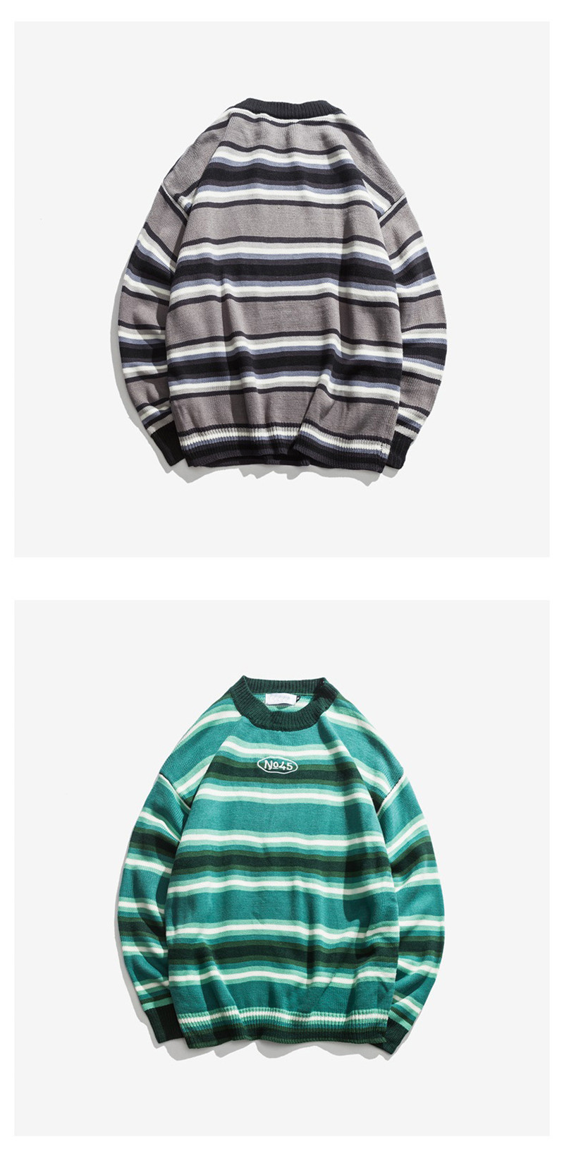 Knitted Japanese Harajuku Style Striped Sweater for Men Urban Boys Street Wear Crewneck Embroidery Pullover Jumper Oversized 9
