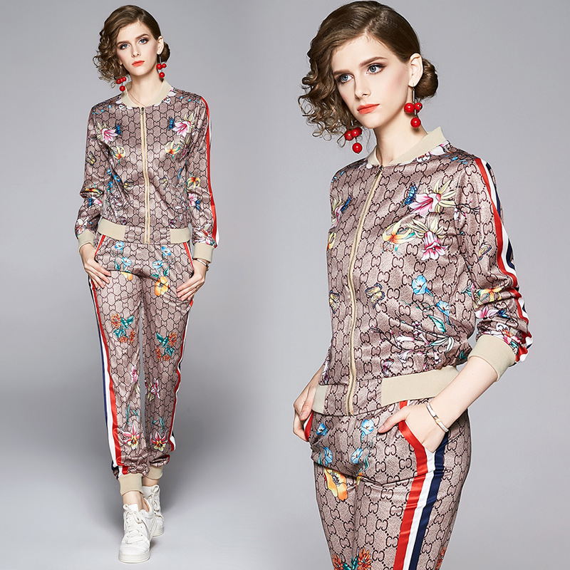 New Women's Sports Two Piece Sets Rainbow Striped Long Sleeve Print Jackets + Long Pants 2 pcs Runway Floral Ladies Designer Two Piece Pants