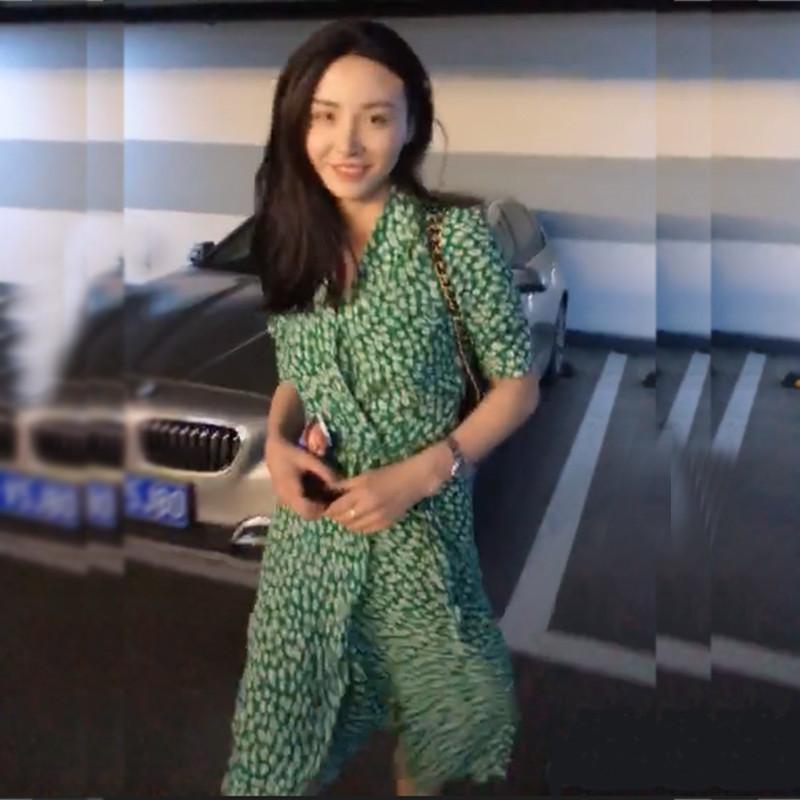 yinlinhe Green Floral Summer Dress Short Sleeve V neck Beach Wrap Dress Women Sash Slim Waist Elegant Button Vestidos 4