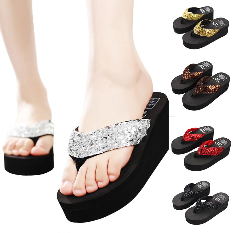 Women Sequined Glitter Wedge Platform Thong Flip Flops Beach Casual Slippers S3