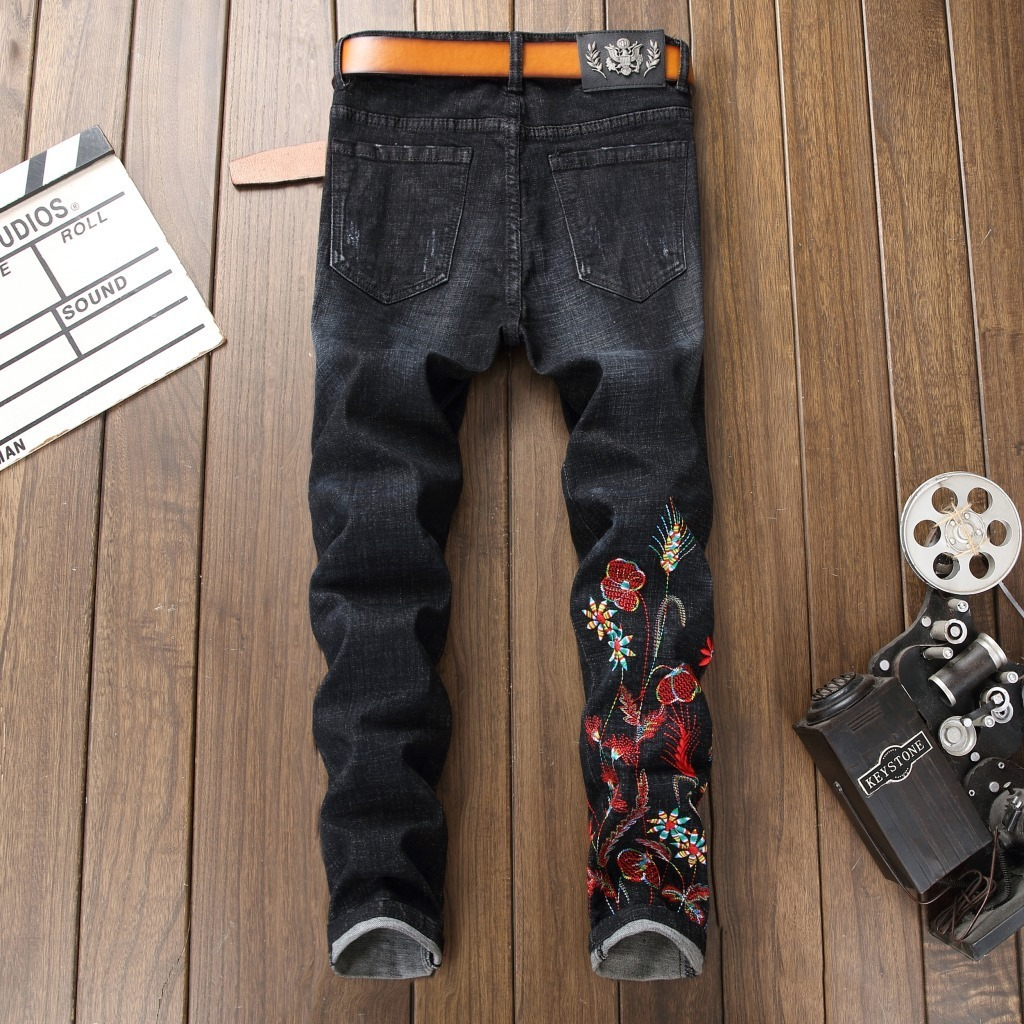 Fairy2019 Foreign Do Used Nine Part Man Jeans Embroidered Self-cultivation Small Directly Canister Black Embroidery Pants Male
