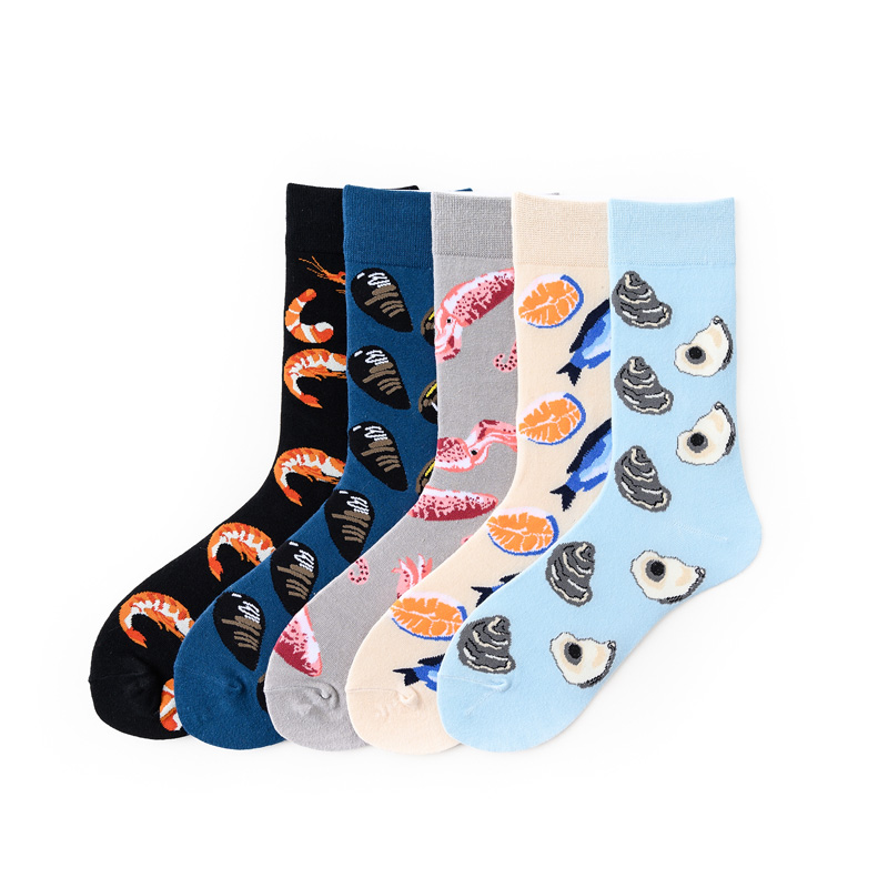 Men High Ankle Cotton Crew Socks Dolphin Baby Casual Sport Stocking