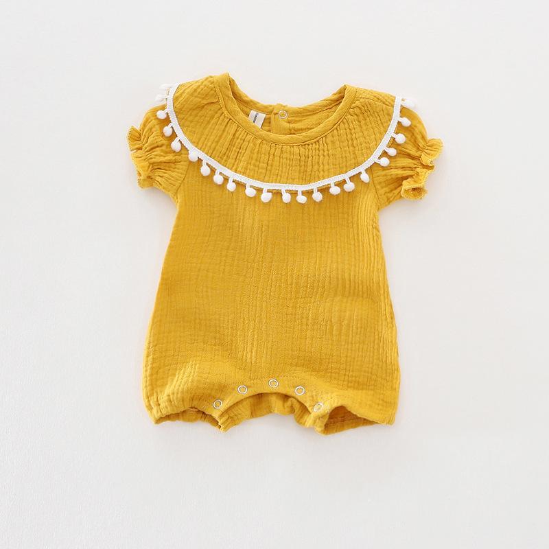 Cute Newborn Baby Girl Romper 2017 Summer short sleeve Princess fur ball Sunsuit One Pieces Tassel Clothes free drop shipping (7)