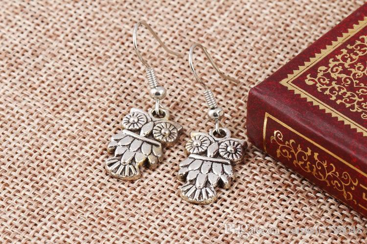 Mixed bohemian earrings handmade tortoise owl cross tree charms earrings statement bohemian silver colors cute animal dangles bulk price