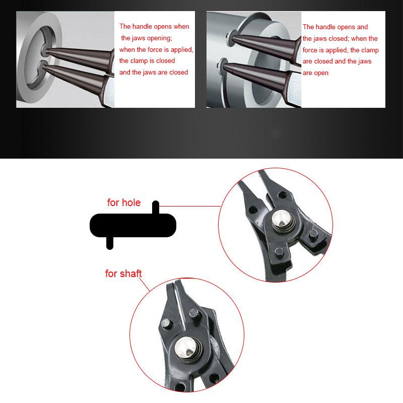rot 4-in-1 Snap Ring Zangen Zangen Set DIY Circlip Kombination Halteclip Schmuck-Sicherungsringzange Intern Extern Ring Remover