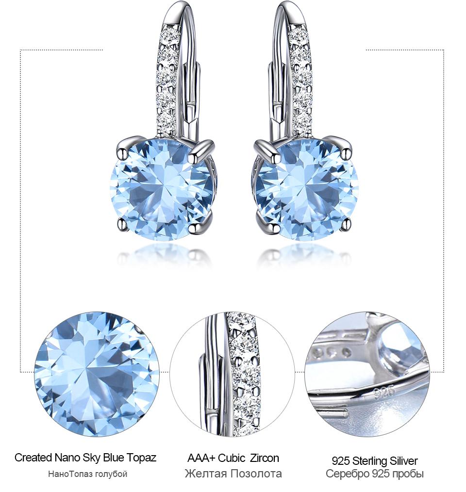 UMCHO Nano Sky Blue Topaz 925 sterling silver clip earrings for women EUJ061B-1-pc (7)