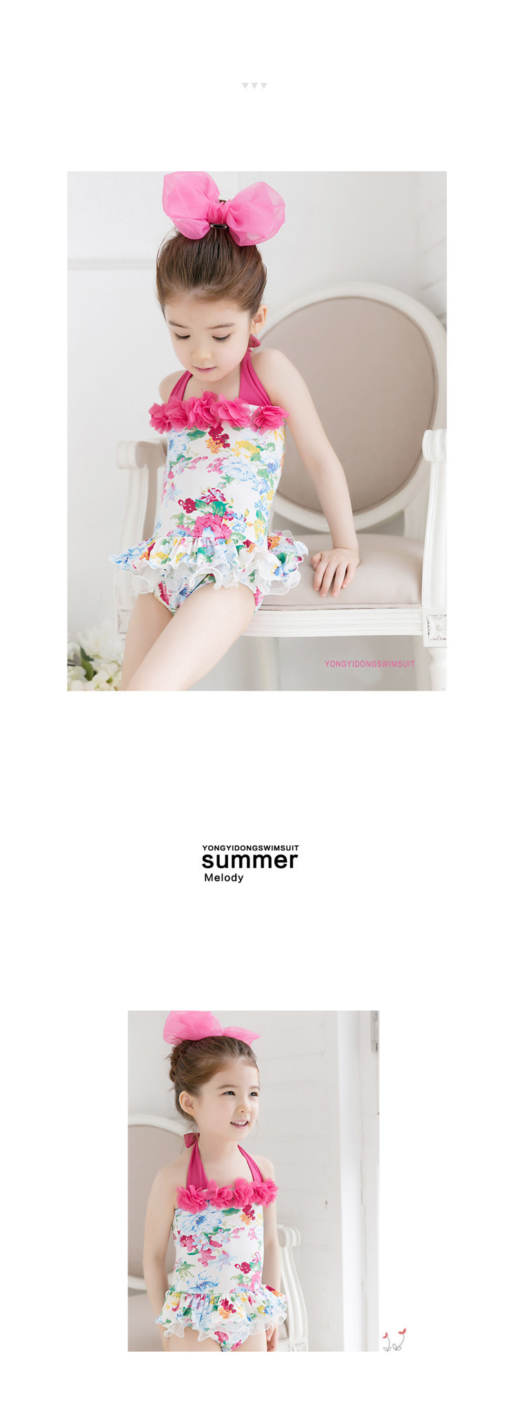 2pcs Baby Girls Swimwear Kids Swimming Bikinis Siamese skirt type swimsuit one piece lace sweet Bathing Suit Swimsuit with Cap (14)