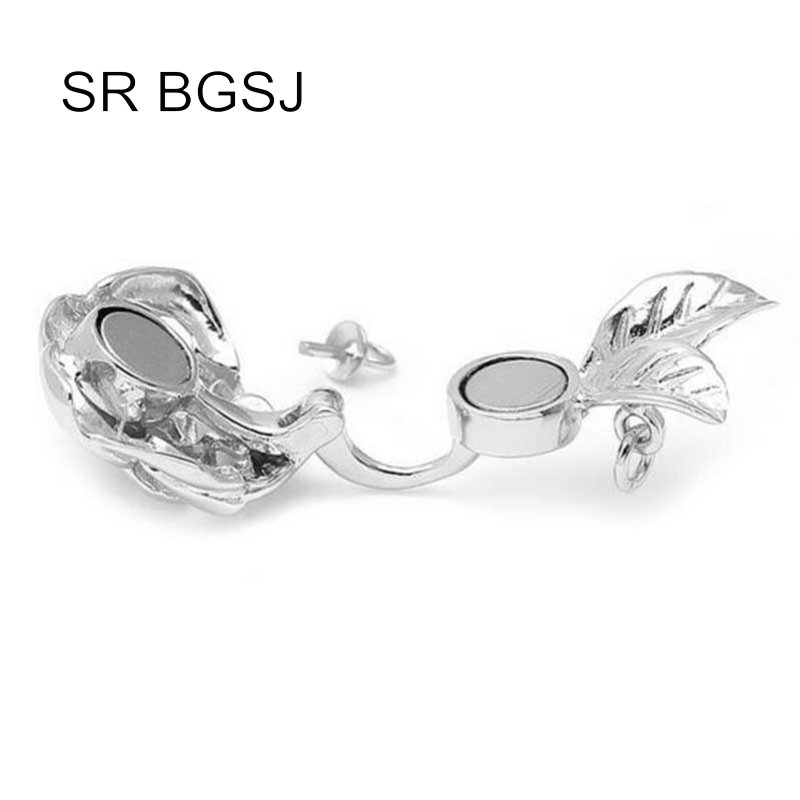 Jewelry Making DIY Rose Flower 925 Silver Magnetic Stud Drop Hook Necklace Clasp