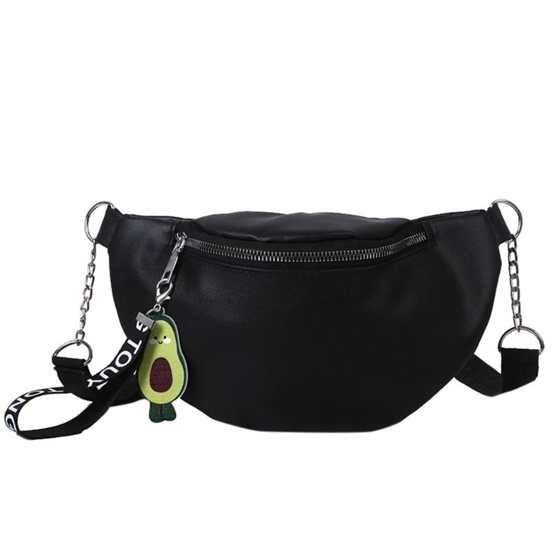 Waist Bag with Tassel Fe Round Belt Bag Brand Quality Leather Chest Handbag with Chain Strap