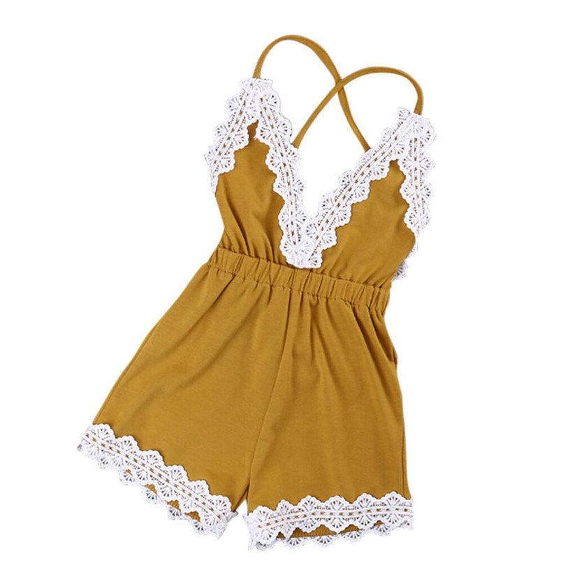Summer Babys Girls Romper Newborn Infant Baby Kids Girls Cotton Solid Sleeveless Lace Jumpsuit Romper Outfits A84L30 (3)