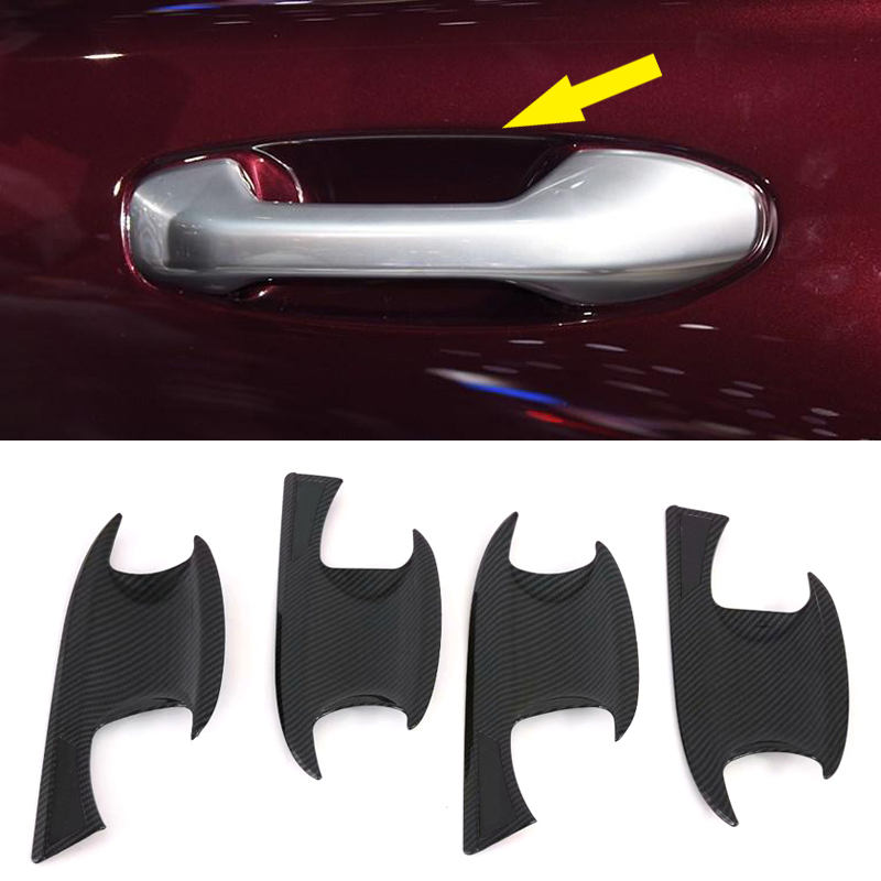 Carbon Fiber Look Side Door Handle Bowl Cover Trim 4pcs for BMW X3 G01 2018 2019