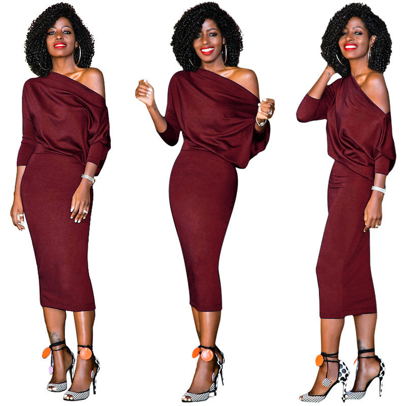 Autumn Fashion Women Wear To Work Dress New Arrival 3 /4 Shell Office Party Dress Way Off The Shoulder Bodycon Dress Vestidos