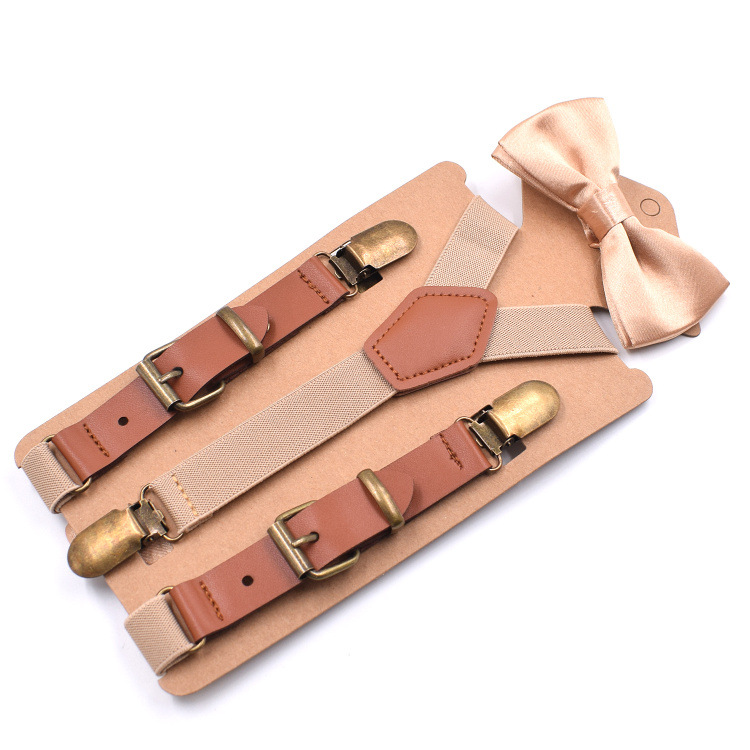 Fashion Leather Alloy 4 Clips 3.5 Jacquard Suspenders Western-style Trousers Male Vintage Casual Suspenders Mans Braces Strap Sun Color