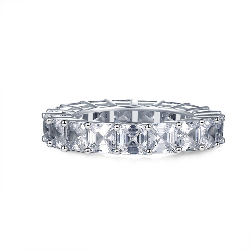 wholesale 925 Sterling Silver 4mm Engagement Wedding Eternity Rings For Women Asscher Cut 0.5ct Anniversary Band Bridal Ring