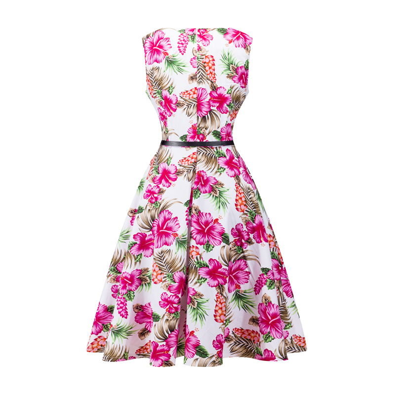 Kostlish 2017 New Summer Dress Women Floral Print Audrey Hepburn 50s 60s A-Line Vintage Dress Sleeveless Party Dresses Plus Size (105)