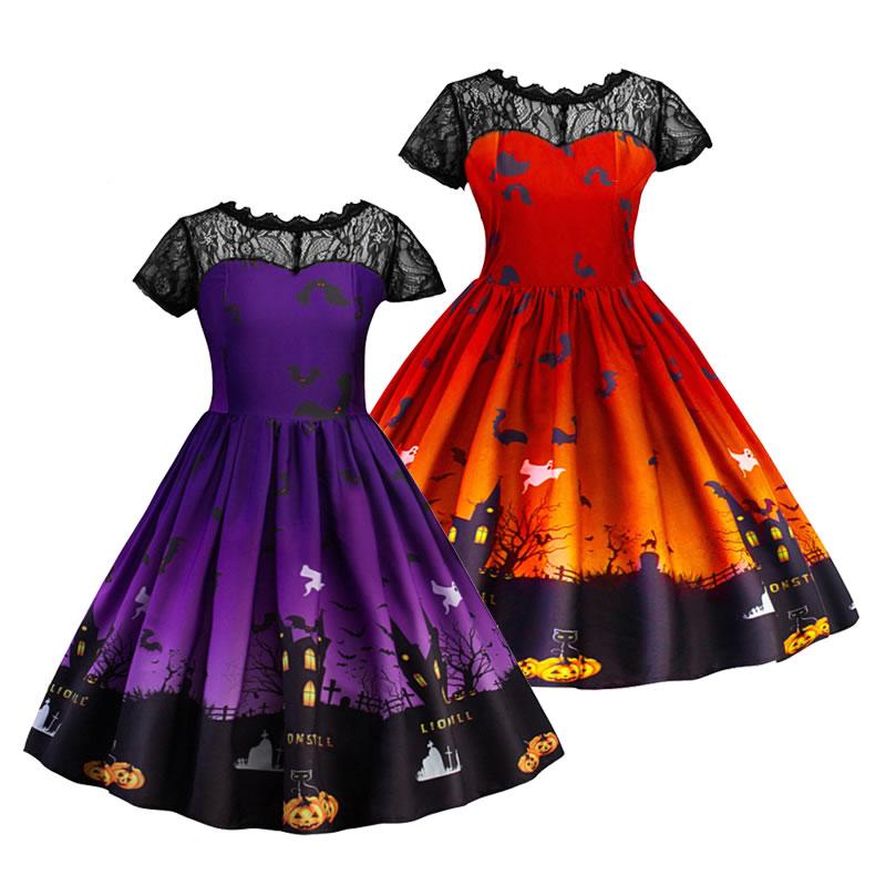 Halloween Baby Girls Elegant Pumpkin Printed T-shirt Dress Outfit Clothes 1-6T