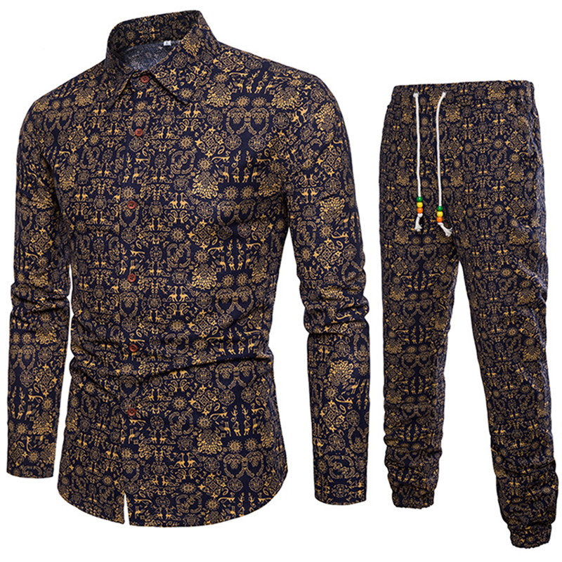 Mens Floral Embroidery Slim Coats Jackets Chinese Style And Pants M-5XL Long C18